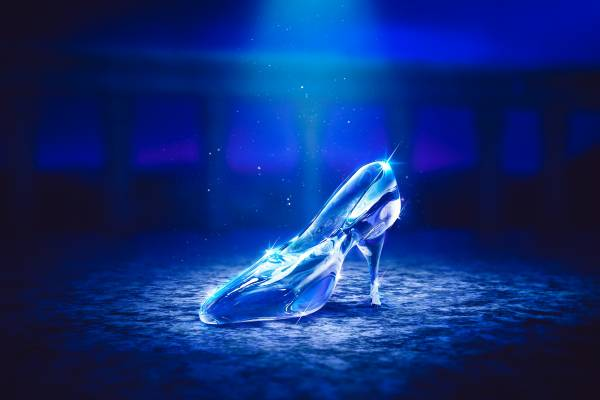 Image of Cinderella's glass slipper on the floor